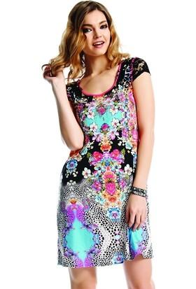 Dodona 1511 Tasarım Swarovski Metalli Çiçekli Elbise