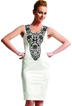 Dodona 1496 Swarovski Taşlı Beyaz Gece Elbisesi
