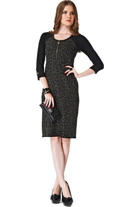 Dodona 2184 Tasarım Desenli Şık Elbise 2184