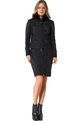 Dodona 2109 Tasarım Önden Fermuarlı Siyah Ceket