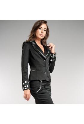 Dodona 1377 Güpürlü Swarovski Taşlı Siyah Ceket