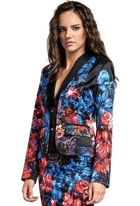 Dodona 1265 Tasarım Çiçek Desenli Ceket