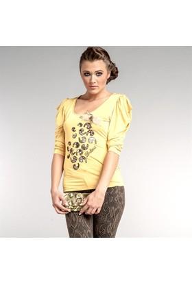 Dodona 1343 Tasarım Aksesuarlı Şık Sarı Bluz