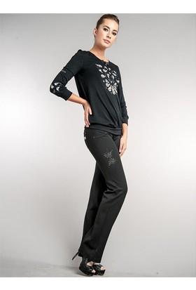 Dodona 1495 Swarovski Taşlarla Süslü Siyah Şık Pantolon