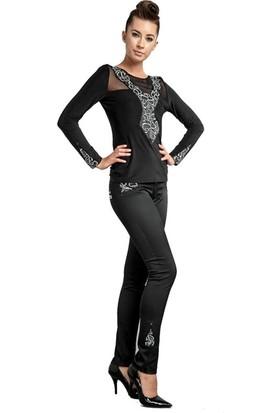 Dodona 1385 Tasarım Payetli Siyah Pantolon