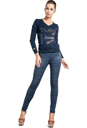 Dodona 1316 Tasarım Mavi Likralı Pantolon