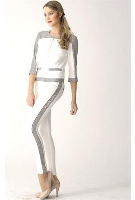 Dodona 2452 Swarovski Taşlı Tasarım Beyaz Pantolon