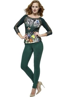 Dodona 2672 Tasarım Süet Görünümlü Yeşil Pantolon