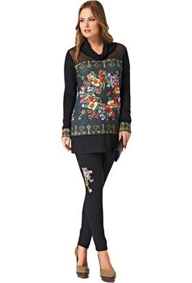 Dodona 2205 Tasarım Siyah Tayt Pantolon 2205
