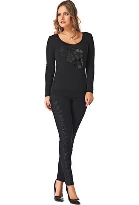 Dodona 2109 Tasarım Güpürlü Siyah Pantolon