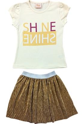 By Leyal For Kids Shine Detaylı T-Shirt Ve Piliseli Etek Takım 18351