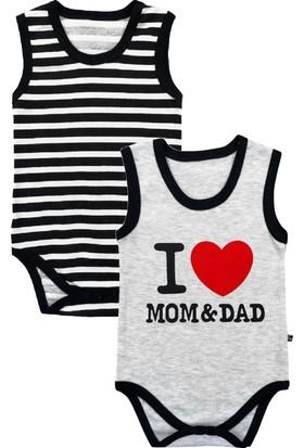 By Leyal For Kids İ Love Mum And Dad Detaylı 2'Li Body Set