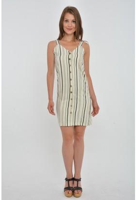 Rodin Hills Önü Düğmeli Keten Elbise 9646