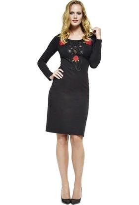 Dodona 2666 Tasarım Çiçek Nakışlı Elbise Kadın