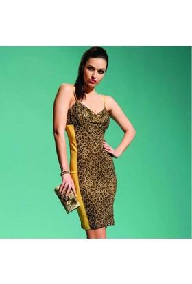 Dodona 0134 Leopar Desenli Gece Elbisesi Kadın