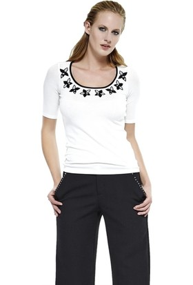Dodona 2696 Tasarım Cepleri Taşlı Kumaş Pantolon Kadın