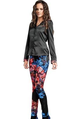 Dodona 1429 Tasarım Çiçek Desenli Pantolon Kadın
