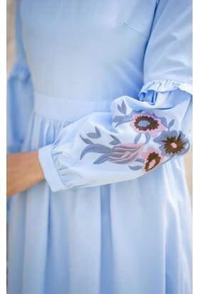 Abacı Kadın Mavi Nakışlı Elbise 11785-R60-40
