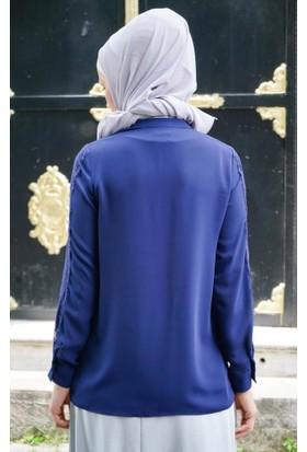 Abacı Kadın Lacivert Şifon Bluz 11844-E32-44