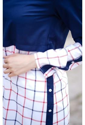 Abacı Kadın Beyaz Kırmızı Ekose Tunik 12002-R44-44