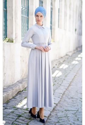 Abacı Kadın Gri - Beyaz Simli Elbise 12076-P56-38