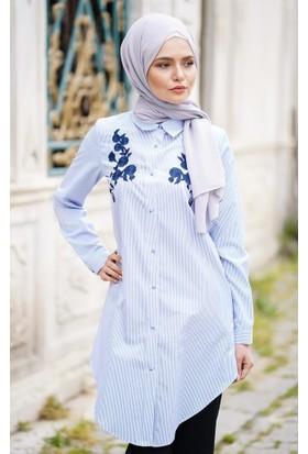 Abacı Kadın Beyaz Mavi Çizgili Tunik 12247-R41-40