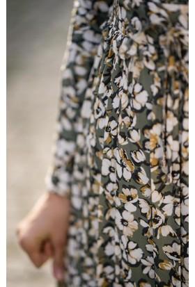 Abacı Kadın Çiçek Desenli Elbise 17El9898-I81-44