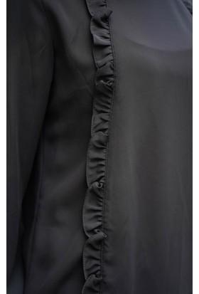 Abacı Kadın Siyah Şifon Bluz B10522-G22-42