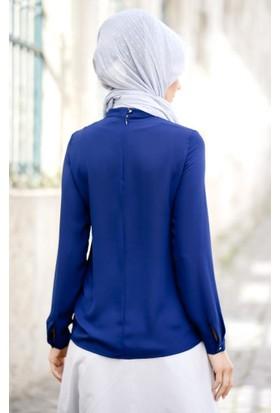 Abacı Kadın Lacivert Şifon Bluz Blz10640-E32-44