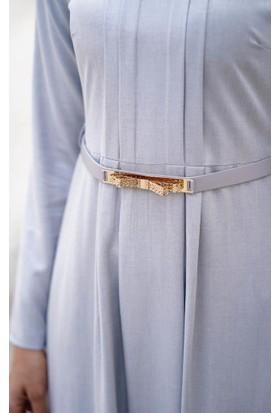 Abacı Kadın Gri Beyaz Sim Elbise El10177-P56-44