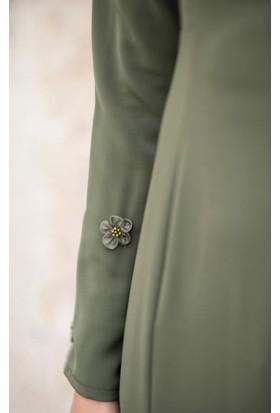 Abacı Kadın Haki Çiçekli Elbise El10676-K74-44