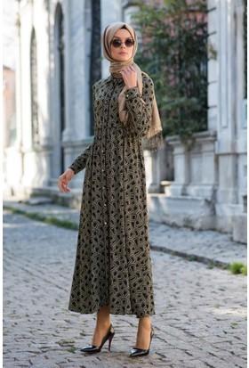 Abacı Kadın Haki-Bej - Siyah Elbise Elb10551-M83-42