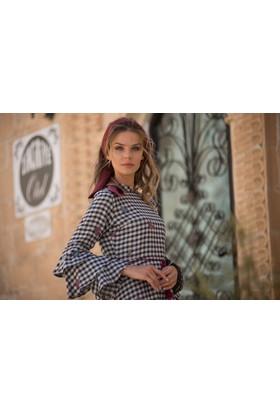 Abacı Kadın Kelebekli Kareli Elbise - Elb10866 - M42-44
