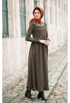 Abacı Kadın Haki Çiçek Desenli Elbise Elb10890-F01-44