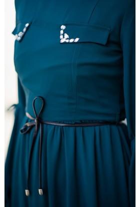 Abacı Kadın Petrol Mavisi Şifon Elbise Elb10953-M31-42