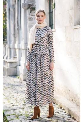 Abacı Kadın Ekru Zikzak Desen Krep Elbise Elb10998-N36-44