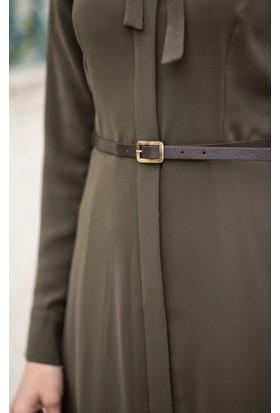 Abacı Kadın Haki Şifon Elbise Elb11189-F01-38