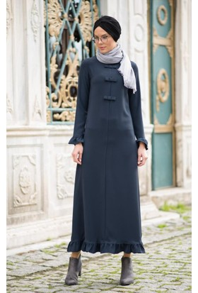 Abacı Kadın Lacivert Krep Elbise Elb11327-N47-44