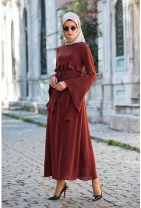 Abacı Kadın Kiremit Şifon Elbise Elb11335-K17-44