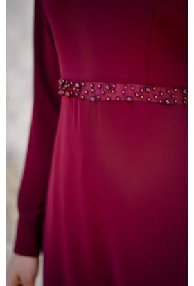 Abacı Kadın Bordo Şifon Elbise Elb11384K-K10-44