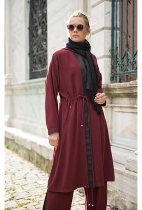 Abacı Kadın Kırmızı Krep Kapüşonlu Tunik Takım Tkm11325-N50-44