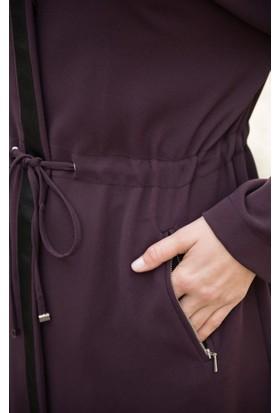 Abacı Kadın Bordo Krep Kapüşonlu Tunik Takım Tkm11325-N51-44