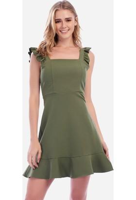 İroni Volanlı Haki Mini Jile Elbise