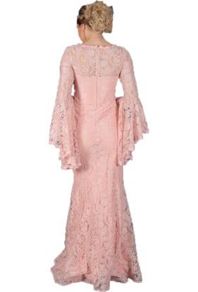 AbiyeSultan İspanyol Kol Dantel Detaylı Uzun Abiye Elbise