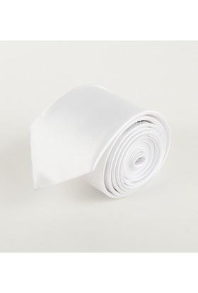 Zaim Aksesuar Erkek Beyaz Saten Kravat