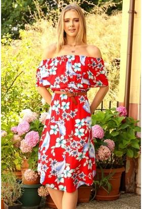 Eka Madonna Yaka Çiçek Desenli Kemerli Elbise