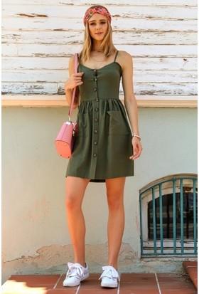 Eka İp Askılı Önü Düğmeli Cepli Elbise