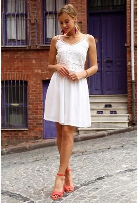 Eka Askılı Fisto Desenli Elbise