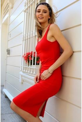 Eka Askılı Yırtmaçlı Elbise