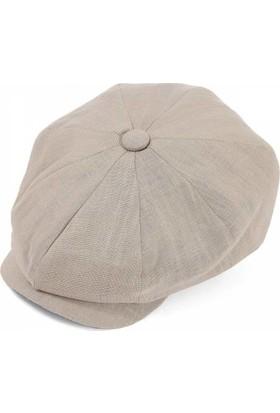 Modamarka-Shop Erkek Keten Şapka Yazlık Kasket Bej